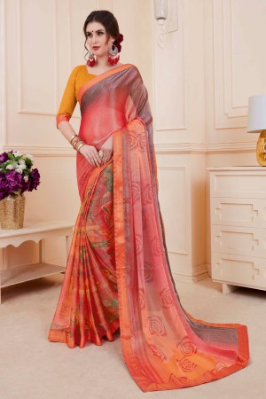 Multicolor Khushi Brasso Saree with Blouse