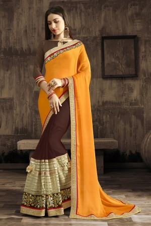 Captivating Orange Embroidered 60 GM Georgette & Moss Chiffon with  Designer  Lace Border Saree