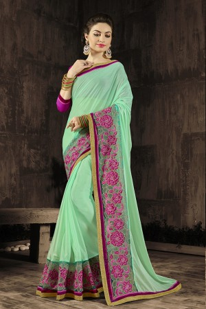 Stunning Green Embroidered 60 GM Georgette & Moss Chiffon with  Designer  Lace Border Saree