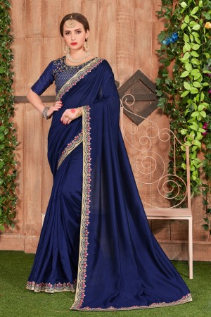 Dark Blue Fancy Heavy Dyed Saree with Blouse