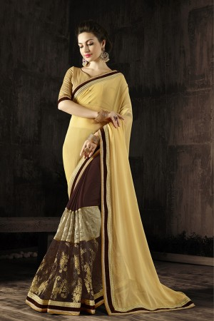 Luscious Yellow Embroidered 60 GM Georgette & Moss Chiffon with  Designer  Lace Border Saree