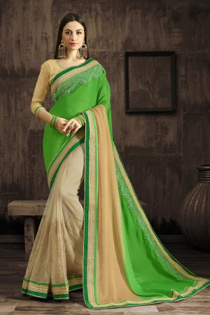 Angellic Green Embroidered 60 GM Georgette & Moss Chiffon with  Designer  Lace Border Saree