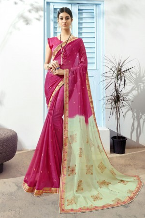 Pink Pure Chiffon Saree with Blouse
