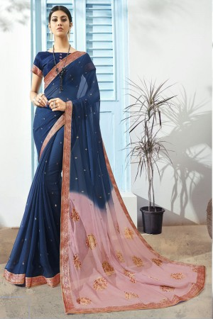 Navy Blue Pure Chiffon Saree with Blouse