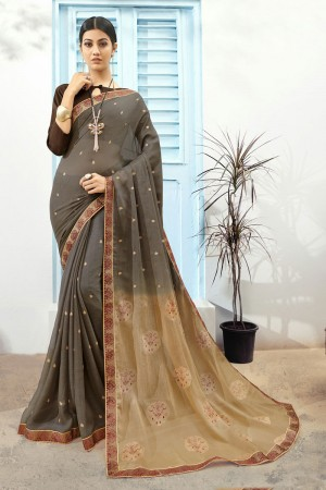 Grey Pure Chiffon Saree with Blouse