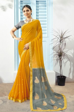 Yellow Pure Chiffon Saree with Blouse