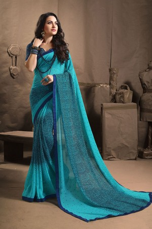 Desirable Blue Major Georgette Printed and Lace Border Saree