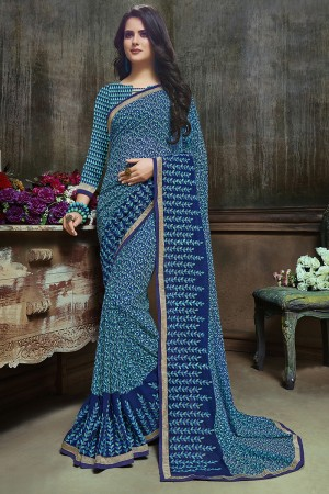 Amiable Blue Major Georgette Printed and Embroidered Saree