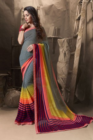 Fantastic Silver Major Georgette Printed and Lace Border Saree