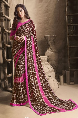 Majestic Brown Major Georgette Printed and Lace Border Saree