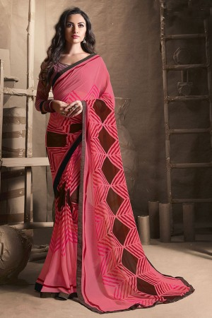 Sensuous Peach Major Georgette Printed and Lace Border Saree