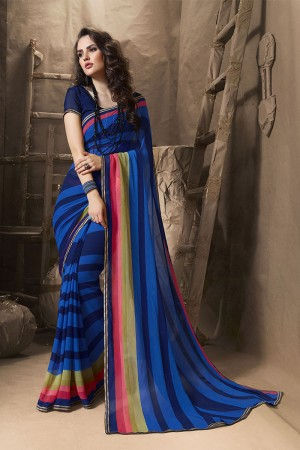 Glamorous Blue Major Georgette Printed and Lace Border Saree