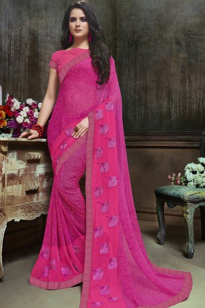 Adorable Pink Major Georgette Printed and Embroidered Saree