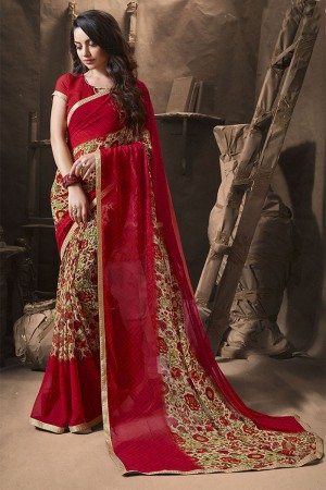 Aesthetic Cream Major Georgette Printed and Lace Border Saree