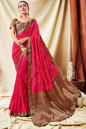 Pink Vichitra Silk Saree with Blouse