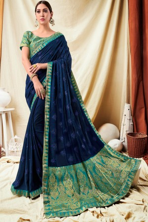 Dark Blue Vichitra Silk Saree with Blouse