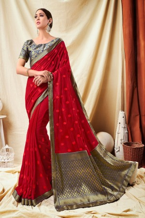 Red Vichitra Silk Saree with Blouse