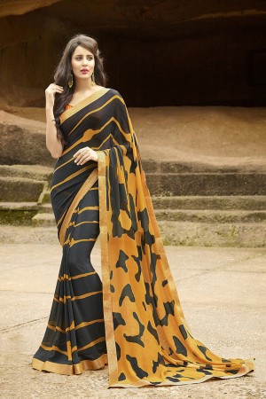 Dashing Black Pure Georgette Print With Lace Border Saree