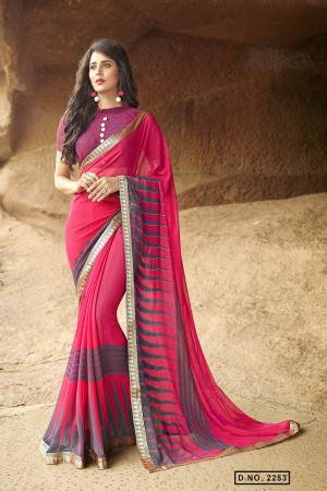 Breezy Pink Pure Georgette Print With Lace Border Saree