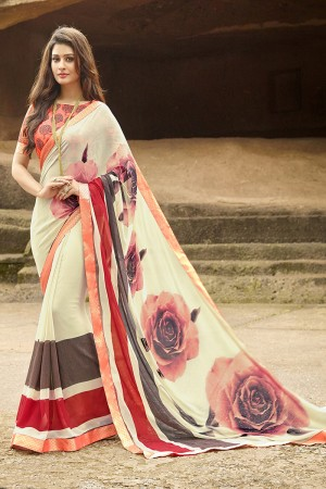 Delightful Cream Pure Georgette Print With Lace Border Saree
