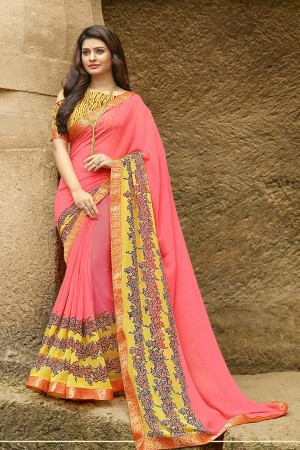 Charming Pink Pure Georgette Print With Lace Border Saree