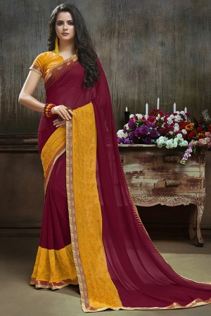 Dashing Maroon Major Georgette Printed and Embroidered Saree