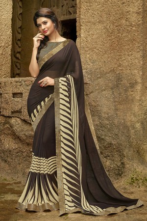 Eye catching Brown Pure Georgette Print With Lace Border Saree