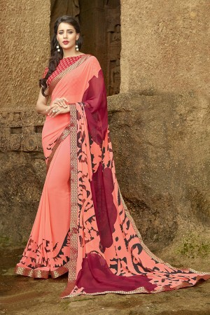 Dynamic Peach Pure Georgette Print With Lace Border Saree