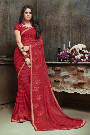 Breezy Red Major Georgette Printed and Embroidered Saree