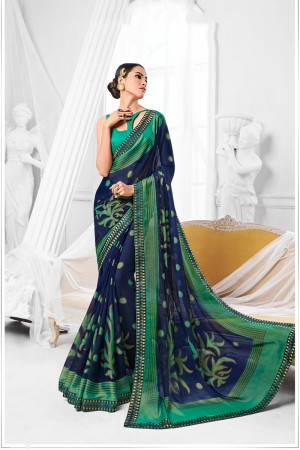 Blue Chiffon Brasso Saree with Blouse