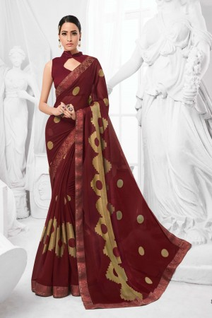 Maroon Chiffon Brasso Saree with Blouse