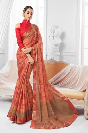 Beige & Red Chiffon Brasso Saree with Blouse