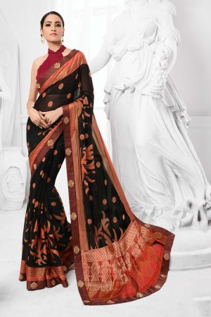 Black Chiffon Brasso Saree with Blouse