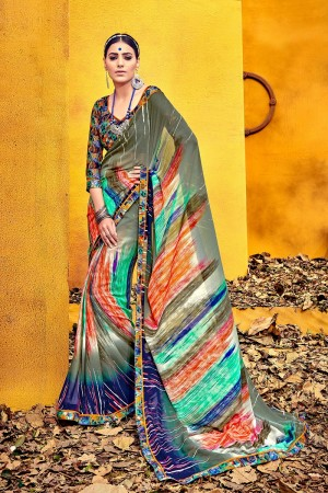 Alluring Olive Weight Less Print With Lace Border Saree