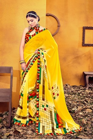Fantastic Yellow Weight Less Print With Lace Border Saree
