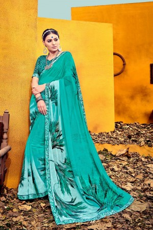 Majestic Blue Weight Less Print With Lace Border Saree