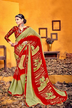 Sensuous Olive Weight Less Print With Lace Border Saree