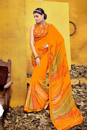 Beauteous Orange Weight Less Print With Lace Border Saree