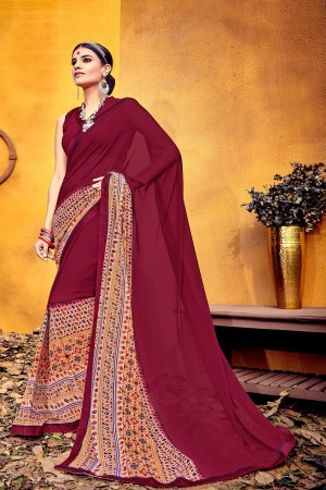 Amiable Maroon Weight Less Print With Lace Border Saree