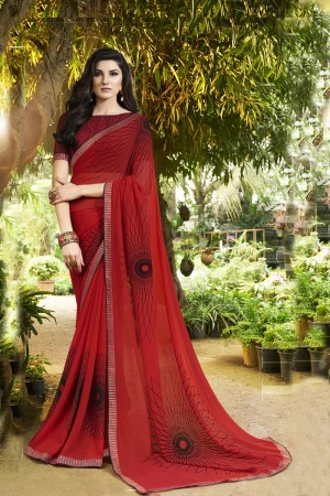 Contemporary Red Major Georgette Print With Lace Border Saree