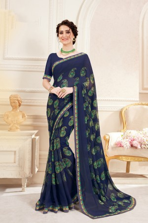 Navy Blue Pure Georgette Saree with Blouse