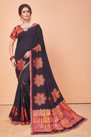 Raisin Vichitra Silk Saree with Blouse