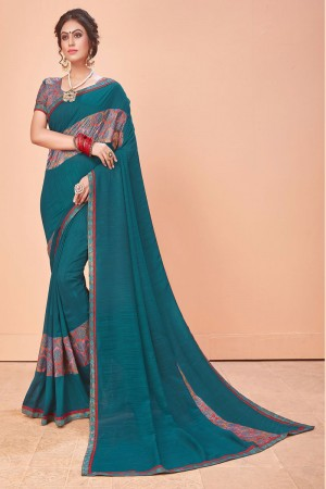 Rama Vichitra Silk Saree with Blouse