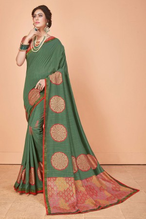 Mehendi Vichitra Silk Saree with Blouse