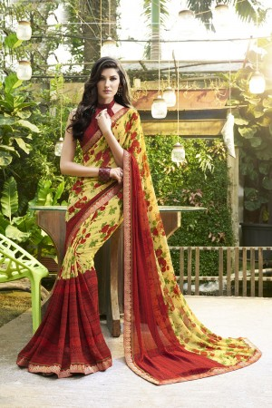Striking Yellow Major Georgette Print With Lace Border Saree