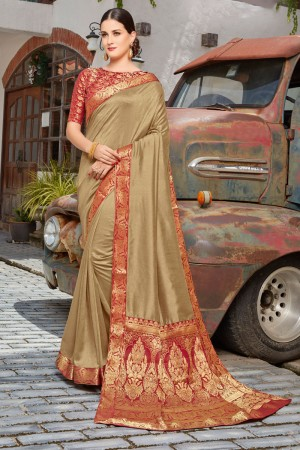 Gold Vichitra Silk Saree with Blouse