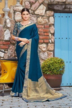 Ocean Vichitra Silk Saree with Blouse