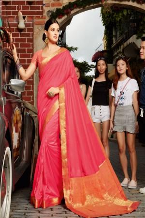 Light Pink Vichitra Silk Saree with Blouse