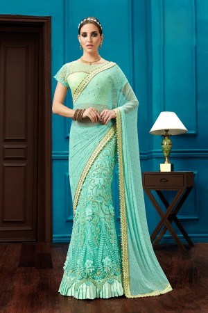 Modish Aqua Blue Net, Kniitted net Thread and Cord Embroidery, 3d flowers, Jewel Border One Minute Saree