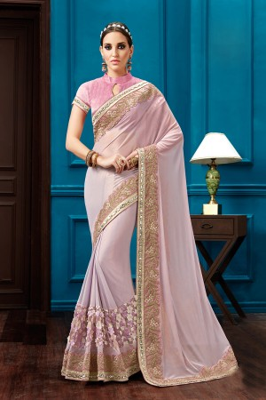 Fabulous Light Pink Knitted Georgette Thread Embroidery, Pearl Work, Jewel Border Saree